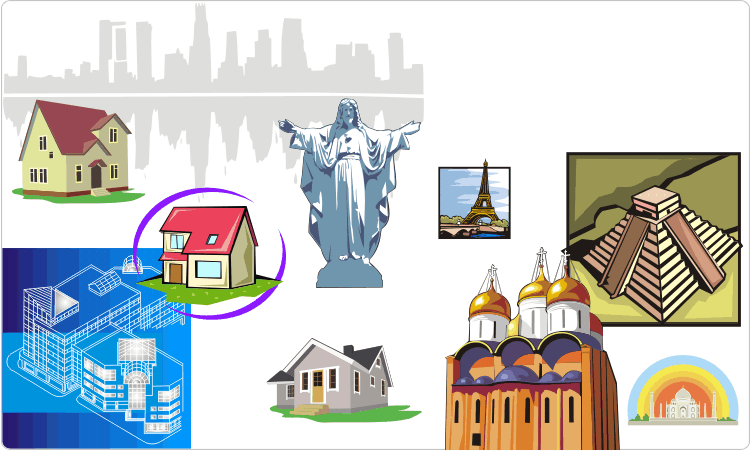 Architecture clipart: sights and buildings