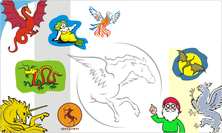 Mythical Creatures Clipart: Dragons, Griffins, Unicorns