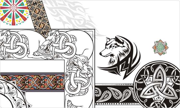 Decorations, tattoos and celtic clipart
