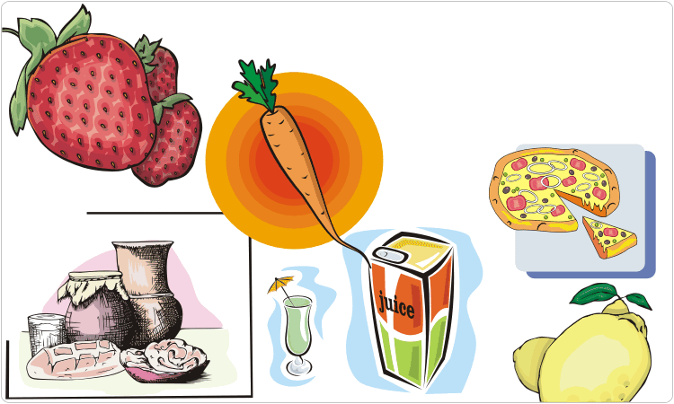 Продукты (фрукты, овощи, напитки и др.)