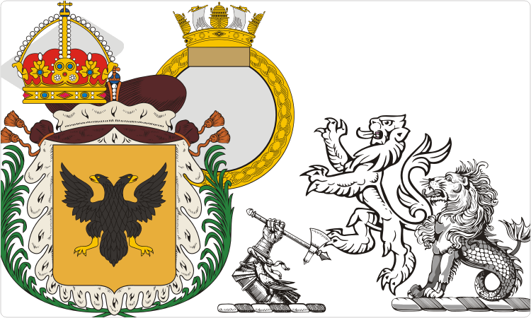 Heraldry clipart (shields, crowns, crests, etc.)