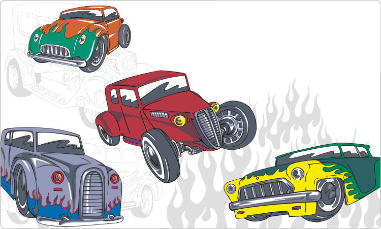 Vintage Hot Rods Clipart