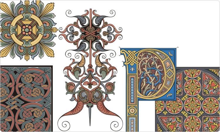Old-Time Decorations and Medieval Ornaments