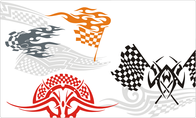 Racing flames and race tattoos