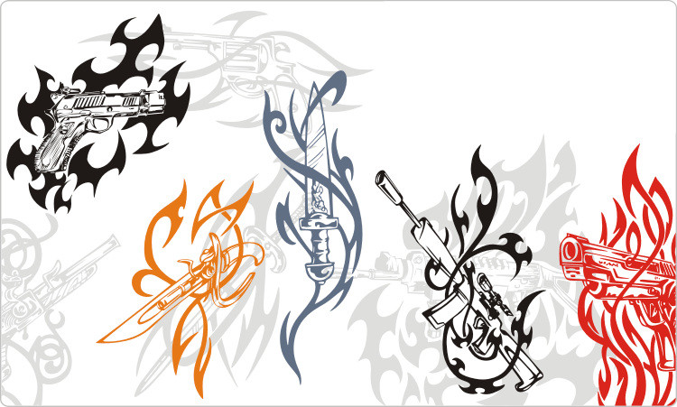 Tribal Weapon Tattoos